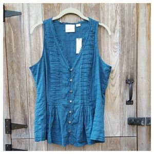 Anthropologie Pintucked Tank by Maeve Size M